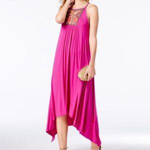 I.N.C Embellished Handkerchief Hem Dress (Magenta)